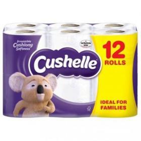 Cushelle Toilet Rolls 2-Ply 180 Sheets 120x104.5mm 21.6m White Ref 1102089 Pack of 12