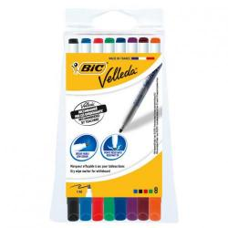 Cheap Stationery Supply of Bic Velleda Marker Whiteboard Dry-wipe 1721 Fine Bullet Tip 1.6mm Line Assorted 1199005728 Pack of 8 Office Statationery
