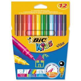 Bic Kids Visa Felt Tip Colouring Pens Washable Ink Fine Tip Wallet Asstd Cols Ref 888695 Pack of 12