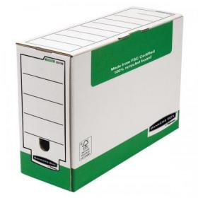 Fellowes Bankers Box Transfer File 120mm Green/White Ref 1179201 Pack of 10
