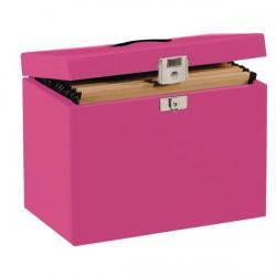 Cheap Stationery Supply of (A4) Metal File Box (Pink) with 5 Suspension Files,Tabs and Inserts A4RD Office Statationery