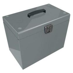 Cheap Stationery Supply of (A4) Metal File Box Lockable (Silver) with 5 Suspension Files A4SL Office Statationery