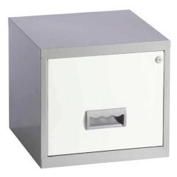 Cheap Stationery Supply of Pierre Henry (A4) Steel Filing Cabinet Lockable 1 Drawer (Silver/White) 99074 Office Statationery
