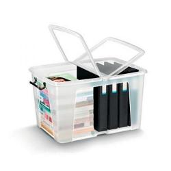 Cheap Stationery Supply of Strata Smart Box Clip-On Folding Lid Carry Handles 65 Litre Clear HW686 Office Statationery