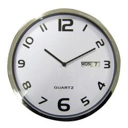 Cheap Stationery Supply of 5 Star Facilities Wall Clock with Dates Diameter 300mm with White Face & Grey Case Office Statationery