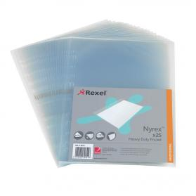 Rexel Nyrex Heavy-duty Pocket Polypropylene Side-opening 115 Micron A4 Clear Ref 11011 Pack of 25