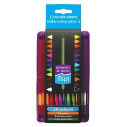 Cheap Stationery Supply of Derwent Academy Flip Double Ended Watercolour Pencils (Assorted Colours) - Pack of 12 Pencils 2302175 Office Statationery