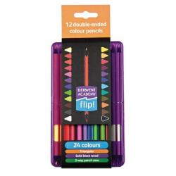 Cheap Stationery Supply of Derwent Academy Flip Double Ended Colour Pencils (Assorted Colours) - Pack of 12 Pencils 2302148 Office Statationery