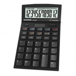Cheap Stationery Supply of Aurora Desktop Calculator 12 Digit 4 Key Memory Battery/Solar Power 105x17x175mm Black DT920PX Office Statationery