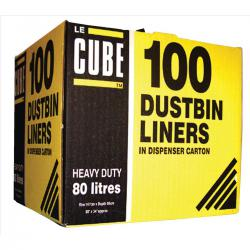 Cheap Stationery Supply of Le Cube Dustbin Liners in Dispenser Box 92 Litre Capacity 1474x864mm Black RY00483 Pack of 100 Office Statationery