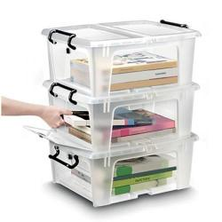 Cheap Stationery Supply of Strata Smart Box Clip-On Folding Lid Opens Front or Side 20 Litre Clear HW695 Office Statationery