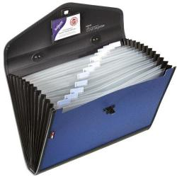 Cheap Stationery Supply of Snopake Expanding Organiser File Polypropylene 13 Part Foolscap Blue and Black 13521 13521 Office Statationery