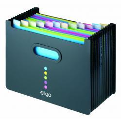 Cheap Stationery Supply of Snopake Eligo Desk Organiser Expanding Polypropylene 13-Part Landscape Black 15174 Office Statationery