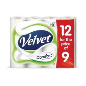 Velvet Comfort Toilet Rolls 210 Sheets 3-ply White Ref 1102092 Pack of 12