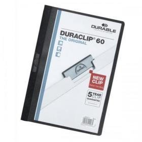 Durable Duraclip Folder PVC Clear Front 6mm Spine for 60 Sheets A4 Black Ref 2209/01 Pack of 25