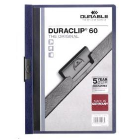 Durable Duraclip Folder PVC Clear Front 6mm Spine for 60 Sheets A4 Midnight Blue Ref 2209/28 Pack of 25