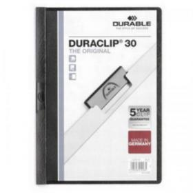 Durable Duraclip Folder PVC Clear Front 3mm Spine for 30 Sheets A4 Black Ref 2200/01 Pack of 25