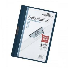 Durable Duraclip Folder PVC Clear Front 3mm Spine for 30 Sheets A4 Midnight Blue Ref 2200/28 Pack of 25