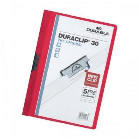 Durable Duraclip Folder PVC Clear Front 3mm Spine for 30 Sheets A4 Red Ref 2200/03 Pack of 25
