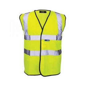 Bseen High Visibility Waistcoat Full App XL Yellow/Black Piping Ref WCENGXL *Up to 3 Day Leadtime*