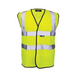 Cheap Stationery Supply of Bseen High Visibility Waistcoat Full App Large Yellow/Black Piping WCENGL Office Statationery