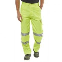 Cheap Stationery Supply of BSeen Trousers Polycotton Hi-Vis EN471 Saturn Yellow 36 PCTENSY36 *Up to 3 Day Leadtime* Office Statationery