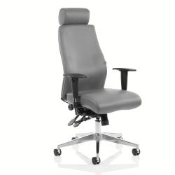 Cheap Stationery Supply of Adroit Onyx Ergo Posture Chair With Headrest With Arms Bonded Leather Grey OP000222 Office Statationery