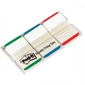 Post-it Index Tabs Lined Strong 25mm Assorted Green Blue Red Ref 686L-GBR Pack of 66