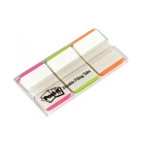 Post-it Index Tabs Lined Strong 25mm Assorted Pink Bright-green Orange Ref 686L-PGO Pack of 66