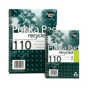 Pukka Pad Recycled Notebook Wirebound 80gsm Ruled Perforated 110pp A5 Green Ref RCA5/110 Pack of 3