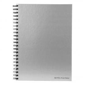 Pukka Pad Notebook Wirebound Hardback 90gsm Ruled Margin Perforated 160pp A4 Silver Ref WRULA4 Pack of 5