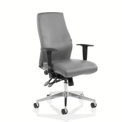Cheap Stationery Supply of Adroit Onyx Ergo Posture Chair Without Headrest With Arms Bonded Leather Grey OP000223 Office Statationery