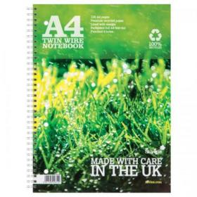 Silvine Recycled Notebook Wirebnd 70gsm Ruled Margin Perf Punched 4 Holes 104pp A4 Ref TWRE80 Pack of 12