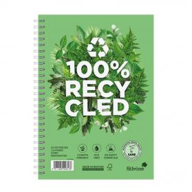 Silvine Premium Recycled Nbk Wirebnd 80gsm Ruled Margin Perf Punched 4 Holes 120pp A5+ Ref R103 Pack of 5
