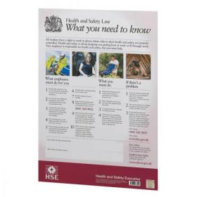 Health and Safety Law HSE Statutory Poster PVC W420xH595mm A2