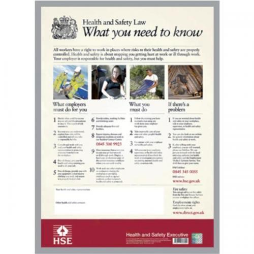 Health And Safety Law Hse Statutory Poster Pvc W420xh595mm Hs3