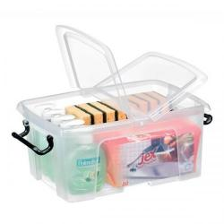Cheap Stationery Supply of Strata Smart Box Clip-On Folding Lid Carry Handles 12 Litre Clear HW671CLR Office Statationery