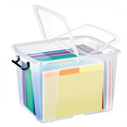 Cheap Stationery Supply of Strata Smart Box Clip-On Folding Lid Carry Handles 40 Litre Clear HW674CLR Office Statationery