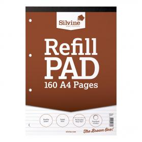 Silvine Refill Pad Headbound 75gsm Ruled Perforated Punched 4 Holes 160pp A4 Brown Ref A4RPF Pack of 6