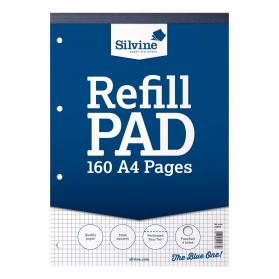 Silvine Refill Pad Headbound 75gsm 5mm Squared Perf Punched 4 Holes 160pp A4 Blue Ref A4RPX Pack of 6
