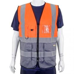 Cheap Stationery Supply of BSeen High-Vis Two Tone Executive Waistcoat 2LX Orange/Grey HVWCTTORGYXXL *Up to 3 Day Leadtime* Office Statationery