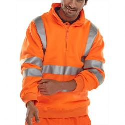 Cheap Stationery Supply of B-Seen Sweatshirt Quarter Zip Hi-Vis 280gsm S Orange BSZSSENORS *Up to 3 Day Leadtime* Office Statationery