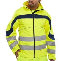 Cheap Stationery Supply of B-Seen Eton High Visibility Soft Shell Jacket 3XL Saturn Yellow/Navy ET40SYXXXL *Upto 3 Day Leadtime* Office Statationery