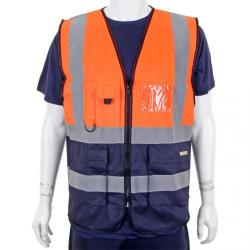 Cheap Stationery Supply of BSeen High-Vis Two Tone Executive Waistcoat 2XL Orange/Navy HVWCTTORNXXL *Up to 3 Day Leadtime* Office Statationery