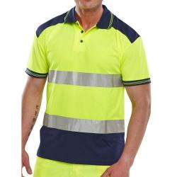 Cheap Stationery Supply of BSeen Polo Shirt Hi-Vis Polyester Two Tone 4XL Yellow/Navy CPKSTTENSYXXXXL *Up to 3 Day Leadtime* Office Statationery