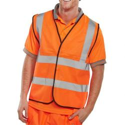 Cheap Stationery Supply of B-Seen High Visibility Waistcoat Full App Large Orange/Black Piping WCENGORL *Up to 3 Day Leadtime* Office Statationery