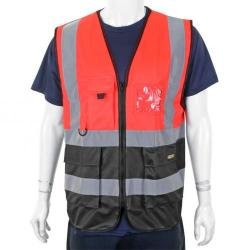 Cheap Stationery Supply of BSeen High-Vis Two Tone Executive Waistcoat Medium Red/Black HVWCTTREBLM *Up to 3 Day Leadtime* Office Statationery