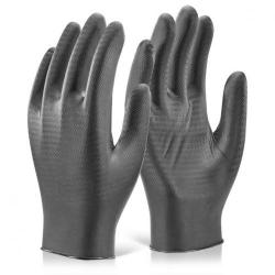 Cheap Stationery Supply of Glovezilla Nitrile Disposable Gripper Glove Black L GZNDG10BLL Pack of 1000 *Up to 3 Day Leadtime* Office Statationery