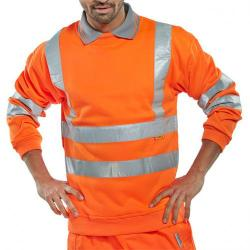 Cheap Stationery Supply of B-Seen Sweatshirt Hi-Vis Polyester 280gsm L Orange BSSENORL *Up to 3 Day Leadtime* Office Statationery
