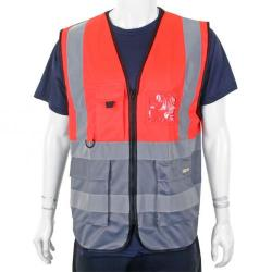 Cheap Stationery Supply of BSeen High-Vis Two Tone Executive Waistcoat Large Red/Grey HVWCTTREGYL *Up to 3 Day Leadtime* Office Statationery